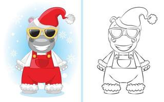 Cute cartoon hippo boy in red overalls with a santa hat. illustration for children coloring book. vector
