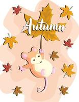 Cute baby mouse cartoon character flying with orange autumn leaf, flat vector illustration isolated on white background. Sweet little animal for prints and cards.