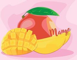 Rebanadas de fruta de mango con hojas aisladas sobre fondo rosa vector