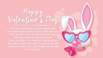 Cute cartoon bunny illustration for valentine's day banner design. vector