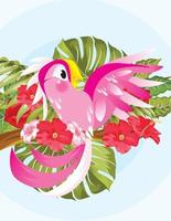 parrot pink with tree vector