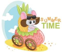 Mouse baby little cute girl character on a strawberry car vector