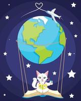 Illustration of a Kid Girl Reading a Picture Dictionary Book on the sky with earth and plane. vector
