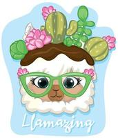 illustration of a llama with llamazing phrase vector