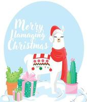 Happy holiday greeting card with cute white llama vector