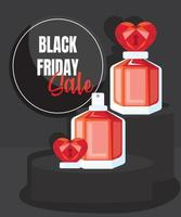 Black Friday Sale banner with heart perfume vector