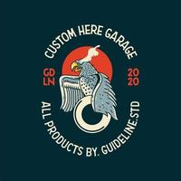 Ilustración de tatuaje o camiseta vintage de engranaje de águila vector