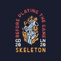 Skeleton Hand With Game pad apparel design vector