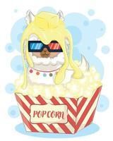 Cute llama in popcorn watching a movie vector