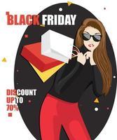Mujer atractiva adicta a las compras sosteniendo bolsas de la compra con gafas de sol, haciendo gesto de silencio, venta colorida y secreta, tendencia de moda del viernes negro. vector