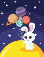 The rabbit traveled in space with balloon planet vector