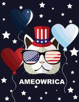 Cute cat mascot America 4th july independence day design