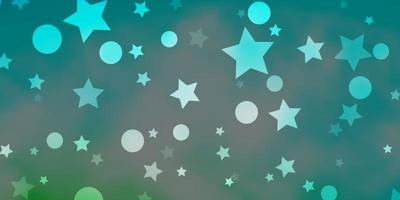 Light Blue, Green vector background with circles, stars.