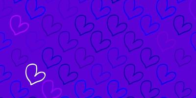 Light Pink, Blue vector template with doodle hearts.