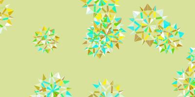 plantilla de vector azul claro, amarillo con copos de nieve de hielo.
