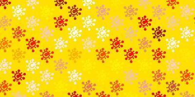 textura de vector naranja claro con símbolos de enfermedades.