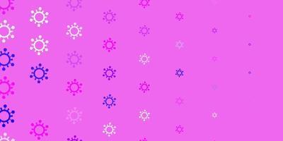 Telón de fondo de vector violeta, rosa claro con símbolos de virus.