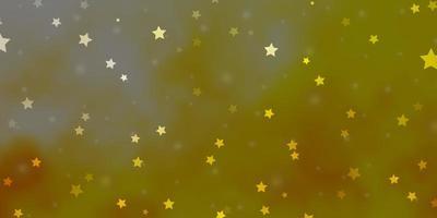 plantilla de vector naranja claro con estrellas de neón.