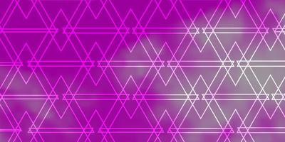 plantilla de vector púrpura claro, rosa con líneas, triángulos.