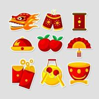 Chinese New Year Festivity Sticker Collection vector