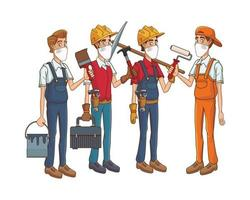 construction workers using medical masks and tools vector