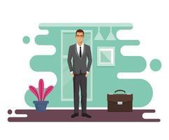 elegante, hombre de negocios, con, cartera, en, lugar de trabajo vector