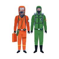 workers wearing biosafety suits vector