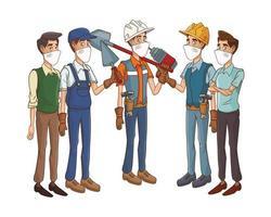 trabajadores de la construcción que usan máscaras y herramientas médicas vector