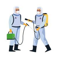 biosafety workers with portable sprayers vector