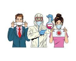 Pareja y hombre con traje de bioseguridad prueba de tubo de elevación vector