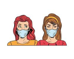 women using face mask for covid19 pop art style vector