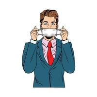 businessman using face mask pop art style vector