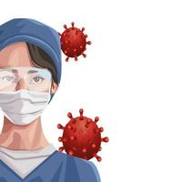 nurse using face mask and glasses, covid19 protection vector