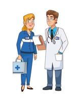 professional doctor and paramedic couple characters vector