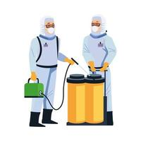 biosafety workers with portable sprayer and tanks vector