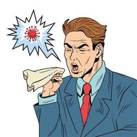 businessman coughing as covid19 symptom vector
