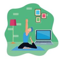 young man practicing online yoga for quarantine vector