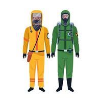 trabajadores con trajes de bioseguridad personajes
