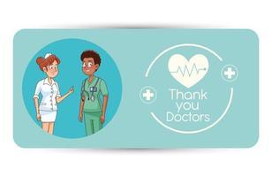 personajes profesionales de doctora y enfermera vector