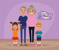 stay at home campaign with parents and kids vector