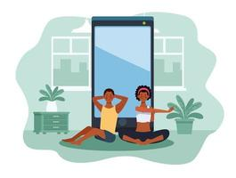 black couple practicing online exercise and yoga for quarantine