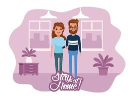 stay at home campaign with couple vector