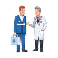 professional doctor and paramedic avatars characters vector