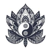 yin y yang vintage en loto vector