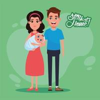 stay at home campaign with parents lifting baby vector