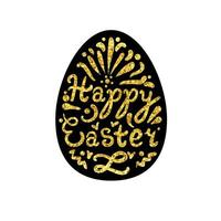 Vintage Happy Easter lettering vector
