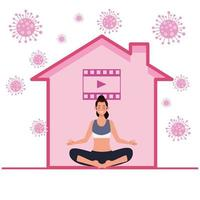 woman practicing online yoga for quarantine vector