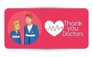 professional paramedics couple avatars characters vector