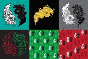 dragón chino oriental feng shui vector