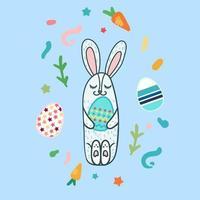 conejo de pascua feliz vector